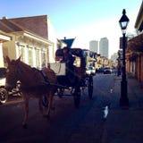 Cavalo e transporte na rua de Bourbon em Nova Orleães Louisiana Imagem de Stock Royalty Free