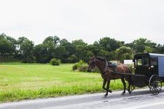 Cavalo e transporte no país de Amish imagens de stock