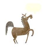 cavalo engraçado dos desenhos animados com bolha do discurso Foto de Stock Royalty Free
