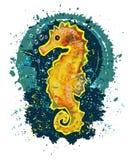 Cavalo marinho dos desenhos animados na água Imagem isolada de um cavalo marinho em um fundo transparente ilustração royalty free