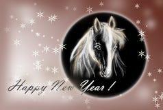 Cavalo no cartão de Natal. Imagens de Stock Royalty Free