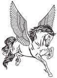 Cavalo voado mitológico de Pegasus Vetor preto e branco da tatuagem Imagens de Stock Royalty Free