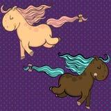 Cavalos bonitos do vetor dos desenhos animados Fotografia de Stock