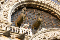 Cavalos da basílica do ` s de St Mark em Veneza, Itália fotos de stock