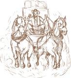 Cavalos do excitador do stagecoach do cowboy ilustração do vetor