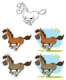 Cavalos dos desenhos animados que funcionam a coleção Imagem de Stock Royalty Free