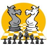 Cavalos: Jogo de xadrez, desenhos animados Imagem de Stock