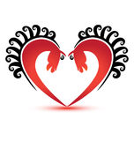 Cavalos no logotipo da fôrma do coração Imagem de Stock