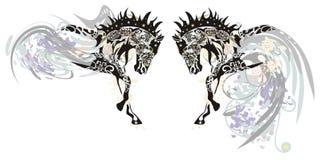 Cavalos ornamentado com elementos florais Imagens de Stock
