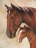 Cavalos, pintura de petróleo Fotografia de Stock