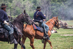 Cavalry Action. Civil War era soldiers in battle at the Dog Island reenactment in Red Bluff, California stock images