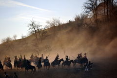 Cavalry battle. History fans reacting the battle of 1805 Austerlitz. Tvarozna village near Brno city in Czech Republic, 27th of November 2009 Royalty Free Stock Image