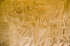 Cavalry battle, Angkor Wat temple Stock Photography