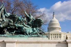 Cavalry group monument in front of US Capitol. Cavalry group of Grant  monument in front of US Capitol Royalty Free Stock Images