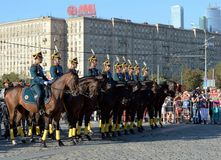 The cavalry honorary escort of the Presidential Regiment and the Kremlin Riding School on Poklonnaya Hill performs in honor of the Royalty Free Stock Photo