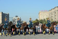 The cavalry honorary escort of the Presidential Regiment and the Kremlin Riding School on Poklonnaya Hill performs in honor of the Stock Images
