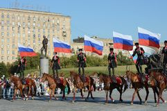 The cavalry honorary escort of the Presidential Regiment and the Kremlin Riding School on Poklonnaya Hill performs in honor of the. MOSCOW, RUSSIA - AUGUST  22 Royalty Free Stock Photography