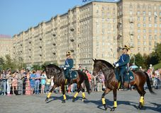 The cavalry honorary escort of the Presidential Regiment and the Kremlin Riding School on Poklonnaya Hill performs in honor of the Royalty Free Stock Photos