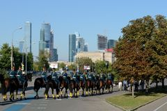 Cavalry honorary escort of the Presidential Regiment on the Poklonnaya Hill of Moscow. MOSCOW, RUSSIA - AUGUST 22, 2015:Cavalry honorary escort of the Royalty Free Stock Images