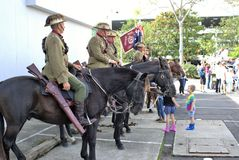 Cavalry or horsemen or lancers at ANZAC Day parade. 25 April 2018. Cavalry or horsemen or lancers at ANZAC Day parade at Coffs Harbour in Australia. Veterans Royalty Free Stock Photo