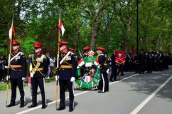 Cavalry Memorial Parade. London, Hyde Park: Sunday 10th May 2015: the Combined Cavalry Old Comrades gather on the Broad Walk, Hyde Park with The Royal Lancers Royalty Free Stock Photos