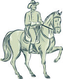 Cavalry Officer Riding Horse Etching Royalty Free Stock Photo