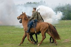 Cavalry soldiers ride Royalty Free Stock Image