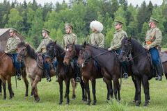 Cavalry soldiers in row Royalty Free Stock Images