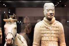 Cavalryman with his saddled war-horse of the Terracotta Army Royalty Free Stock Images