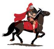 Cavalryman romain avec la plume et le manteau rouges Illustration Stock