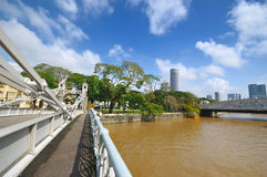Cavanagh Bridge over the Singapore River. A photo of the Cavanagh Bridge and the Singapore River Stock Photo