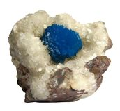 Cavansite på Stilbite mineraliska kristaller från Indien royaltyfri foto