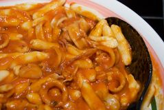 Cavatelli With Calamari Sauce Royalty Free Stock Photos