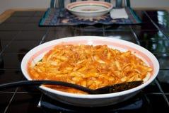 Cavatelli con la salsa del Calamari Fotografia Stock