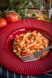 Cavatelli pasta with fresh tomato sauce. Royalty Free Stock Images