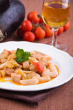 Cavatelli with swordfish and eggplant. Stock Photo