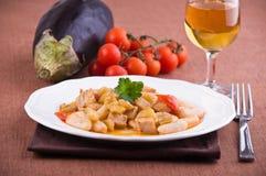 Cavatelli with swordfish and eggplant. Stock Image