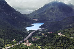 Cavazzo lake, Udin (Friuli). Aerial of Lake Cavazzo located in the region of Friuli in Italy Royalty Free Stock Photos