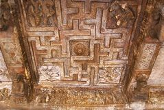 Free Cave 2 : Ceiling Showing A Swastika In A Square Frame. Badami Caves, Karnataka. Royalty Free Stock Photos - 121553818