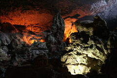 Cave. Colorful cave formations in Vietnam Royalty Free Stock Photography
