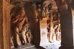 Cave 3 : Carved Figure Of Vishnu As Narasimha, Half Human, Half Lion, On The Left And Trivikrama On The Right. Badami Caves, Karna Stock Images