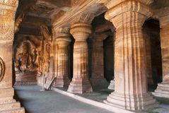 Cave 3 : Carved Figures Of Vishnu Seated On A Hooded Serpent Called Sesha Or Ananta On The Eastern Side Of The Verandha. Badami Ca Stock Image