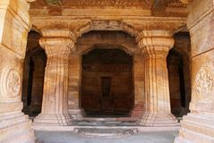 Cave 3 : The Verandah Itself. It Is 7 Feet, 2.1 M, Wide And Has Four Free-standing, Carved Pillars Separating It From The Hall. Ba Royalty Free Stock Images