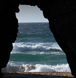 Cave. Rocky coastline in western Portugal Stock Photo