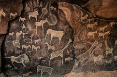 Cave Art. Cave paintings are paintings found on cave walls and ceilings, and especially refer to those of prehistoric origin or by Native American Indians Stock Images