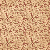 Cave art seamless. Pattern made of ancient wild animals, horses and hunters Royalty Free Stock Image