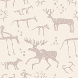 Cave art seamless pattern. Cave painting animals silhouettes vector seamless pattern royalty free illustration