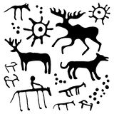 Cave art vector set. Cave rock painting animals silhouettes vector set vector illustration