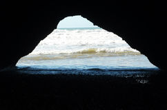 A cave at Atlantic ocean, Legzira Beach Royalty Free Stock Photo