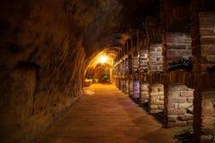 Cave avec beaucoup de genres de bouteilles Images libres de droits